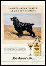 1940 Cocker Spaniel art by Edwin Megargee Fleischmenn's Gin vintage print ad