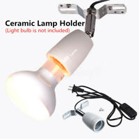E27 400W Reptile Ceramic Heat Lamp Holder w/ Light Switch Socket Lamp Fitting