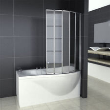 Aica 4/5 Fold 800/900/1000/1200mm Folding  Screen Glass Panel Over Bath Shower