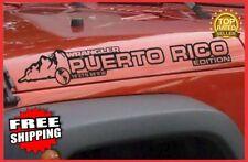 Set of (2) JEEP WRANGLER Puerto Rico Edition Hood Vinyl Decals in Black Matte