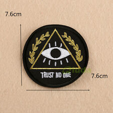 TRUST NO ONE Eye Embroidered Sew Iron On Patch Badge Fabric Bag Clothes Applique
