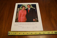 2004 George and Laura Bush Color Photo Copied Donor Giveaway Signed By Both 8x10