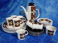 Amazing 60/70s J G Meakin DINNER PLATES & COFFEE SET 27 Pieces Retro Kitchenalia