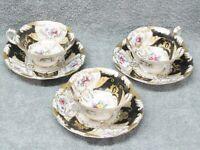 3 Sets Vintage Ardalt Japan Hand Painted China Cups & Saucers Black & Gold Gilt