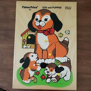 Vintage Fisher-Price 'Dog and Puppies' Wood Puzzle #511, Ages 2-5, 8 Pieces