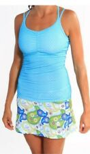 Runningskirts.com S Strappy Padded Bra Ruched Tank Top Athletic Azure dot