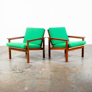 Mid Century Danish Modern Lounge Chairs Solid Teak Kelly Green Denmark Arm Set