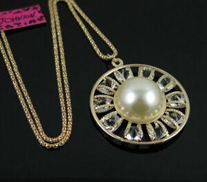 Pendant Fashion Betsey Johnson Jewelry Rhinestone Pearl Round Women Necklaces