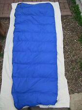 Vintage Eddie Bauer Down Sleeping Bag w North Face Stuff Sack Blue/Gray  U.S.A