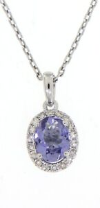 0.97CT Tanzanite Gemstone 14K White Gold Real Halo Diamond Oval Pendant Jewelry