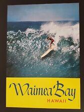 ORIGINAL 1960s SURF POSTER WAIMEA BAY HAWAII MIKE DOYLE SURFING LONGBOARD SURFER