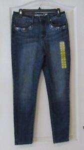 Seven7  Mid Rise Embellished Skinny Jeans FINE  Women's Sz. 14 NWT MSRP$79