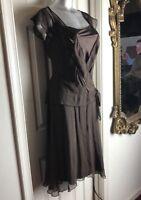 BEAUTIFUL Jonathan Martin Woman Dress 100% Silk -Sz 8 Brown Surplice Lined EUC