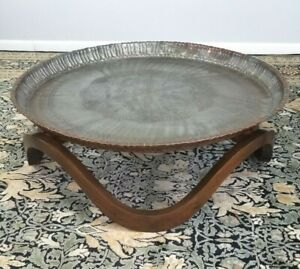 "Mid Century Oriental Boho Walnut Waves Base Brass Tray Coffee Table 36"""