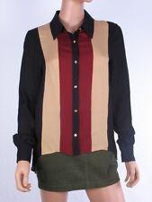 Haute Hippie Colorblock Button Down Long Sleeve Silk Blouse Size l  $295.00