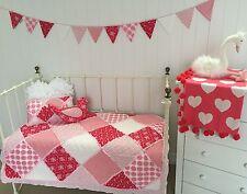 4 pce Girls Cot Quilt Bedding Shabby Chic Scarlet Crib Vintage Nursery  Set