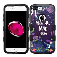 for iPhone 8 Plus Rugged Rubber+Hard Case Alice in the Wonderland #All Mad Here