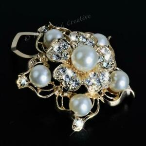 Scarf Clip, Scarf Ring, Gold Tone, Crystal Faux Pearl, Statement Piece, LAST FEW