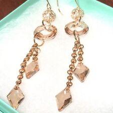 Swarovski Crystal Drop Earrings New Oliver Webber Gold