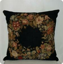 Antique Vtg Multi Color Roses Flowers Needlepoint Petit Point Tapestry L Pillow