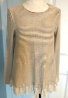 Altar'd State Women Sz M Tunic Top Tan Ivory Striped Long Sleeve Ruffle Hem NWT