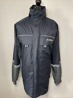Adidas Blue & Grey Retro Lightweight Sports Rain Jacket Long Coat Windbreaker  L