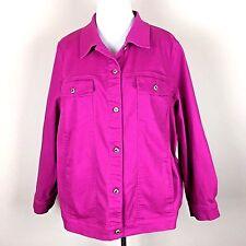 Denim & Co. Fuschia Pink Denim Jean Jacket with Pink Jewel Buttons Womens 3X
