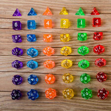 7-Dice Sided D4 D6 D8 D10 D12 D20 MTG Magic Gathering D&D DND RPG Poly Game