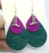with Cowboy Boot Charms Layered Teardrop Leather Earrings