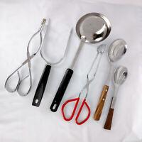 Lot of 6 Vintage Wood Handle Utensils Kitchen Tools Ladle Spoon Fork Tongs Etc