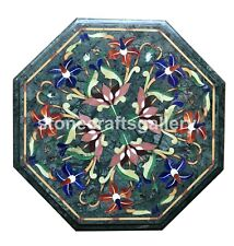 12' Green Marble Small Coffee Table Top Lapis Carnelian Floral Inlay Decors B127