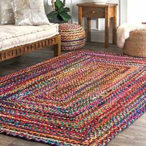 """Hand Braided Bohemian Colorful Cotton Chindi Area Rectangle Rug Home Decor 3x4"""""""