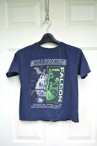 Star Wars Millennium Falcon boys blue short sleeve shirt size M (8)