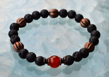 Basalt Lava Stone Carnelian Wrist Mala Beads Bracelet Root Chakra, Fertility