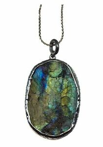Labradorite Pendant Necklace Large Drop Black Rhodium Sterling Silver chain 20