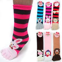ToeSox 1 Pair Calf Length Funny Feet Animal Women's Striped Toe Socks Size 9-11