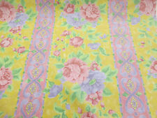 2.8 metres Pink, Lilac & Yellow Floral Stripe Printed 100% Cotton Curtain Fabric