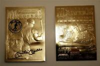 MICKEY MANTLE AUTOGRAPHED 23 KARAT GOLD CARD! YANKEES LEGEND! COMMERCE COMET!