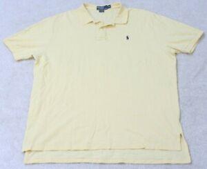 Ralph Lauren Polo Shirt Cotton Men's XXL Solid Yellow Short Sleeve 2XL Mans Blue