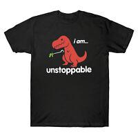 I Am T-Rex Unstoppable Dinosaur Funny Cool Men Black Cotton T-Shirt Short Sleeve