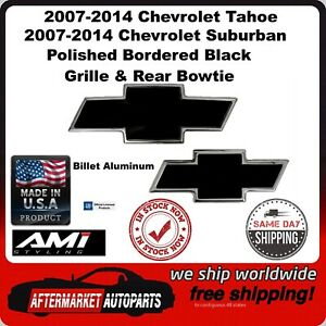 07-14 Suburban Polished/Black Billet Bowtie Grille & Rear Emblem AMI 96108KP