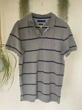 Tommy Hilfiger Polo Shirt Grey & Navy Stripes Medium