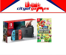 Nintendo Switch Neon Blue & Red Joy-Con Console & New Super Mario Bros U Deluxe