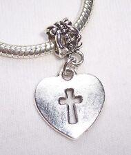 Heart Cross Christian Love Jesus Jewelry Dangle Charm fits European Bracelets