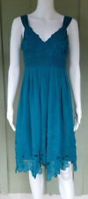 ANTONIO MELANI Teal Floral Embroidered Chiffon Dress 4