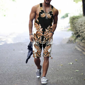 Mens Summer Outfit 2-Piece Set Tank Top Shirts and Shorts Sweatsuit Gym Set