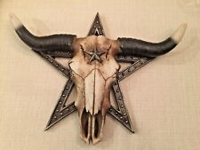 """SKULL WITH LONG HORNS & Star. Unique 14"""" W NATURAL LOOK Western Home Decor"""