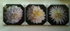 SET OF 3 WOODEN FRAMED/MOUNTED CANVAS PRINTS CREAM, BLACK & PINK FLOWERS