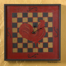 "SQUARE WALL CLOCK ROOSTER ON CHECKERBOARD PATTERN 18x18"" COUNTRYSIDE COLLECTION"