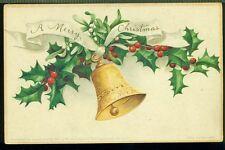 A MERRY CHRISTMAS Gold Bell Mistletoe Holly Ribbon Vintage Postcard